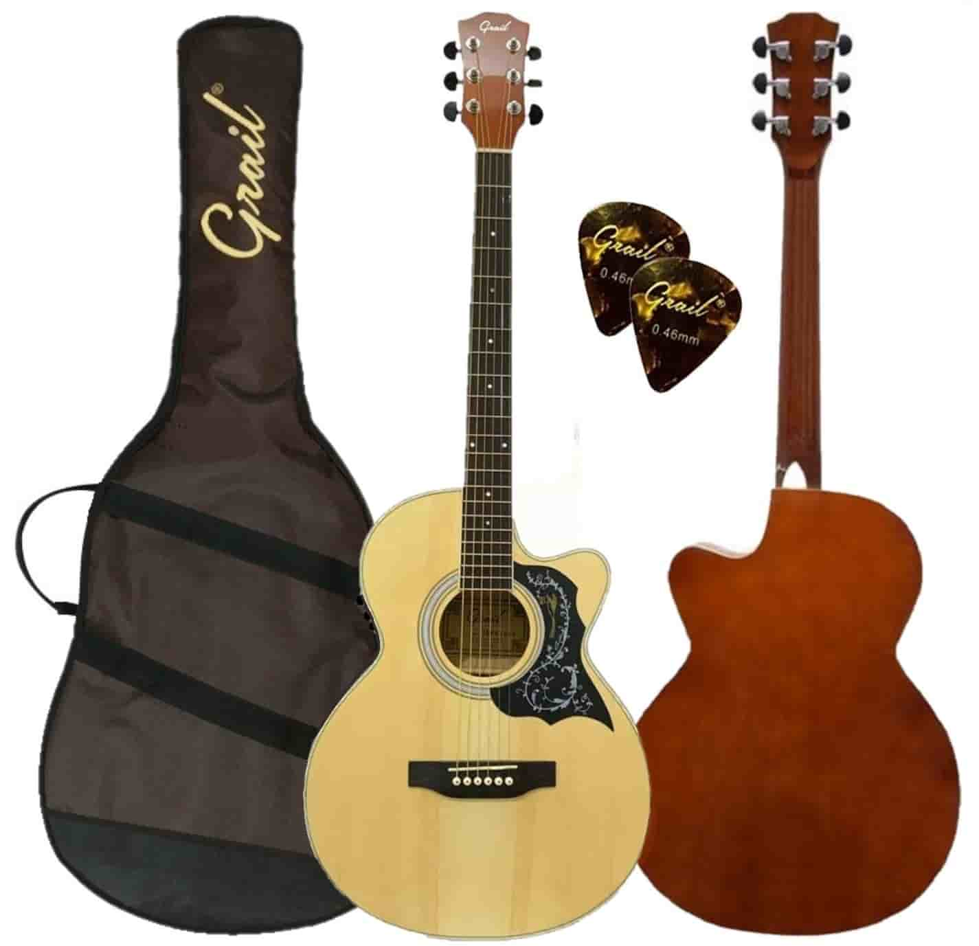 Grail Allure A190CE SP Semi Acoustic Guitar Cutaway Spruce Top (FREE Water Resistant Padded Gig Bag & 2 Picks)