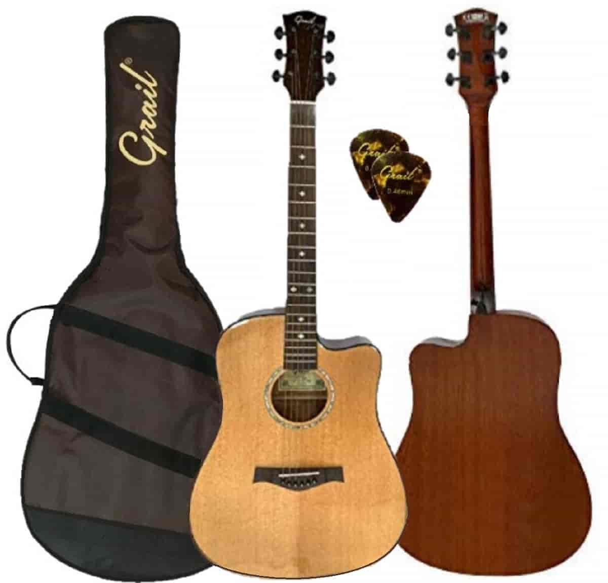 Grail D500C Acoustic Guitar Cutaway Solid Spruce Top - Performance Edition || Natural || (FREE High Quality Padded Bag & 2 Picks)