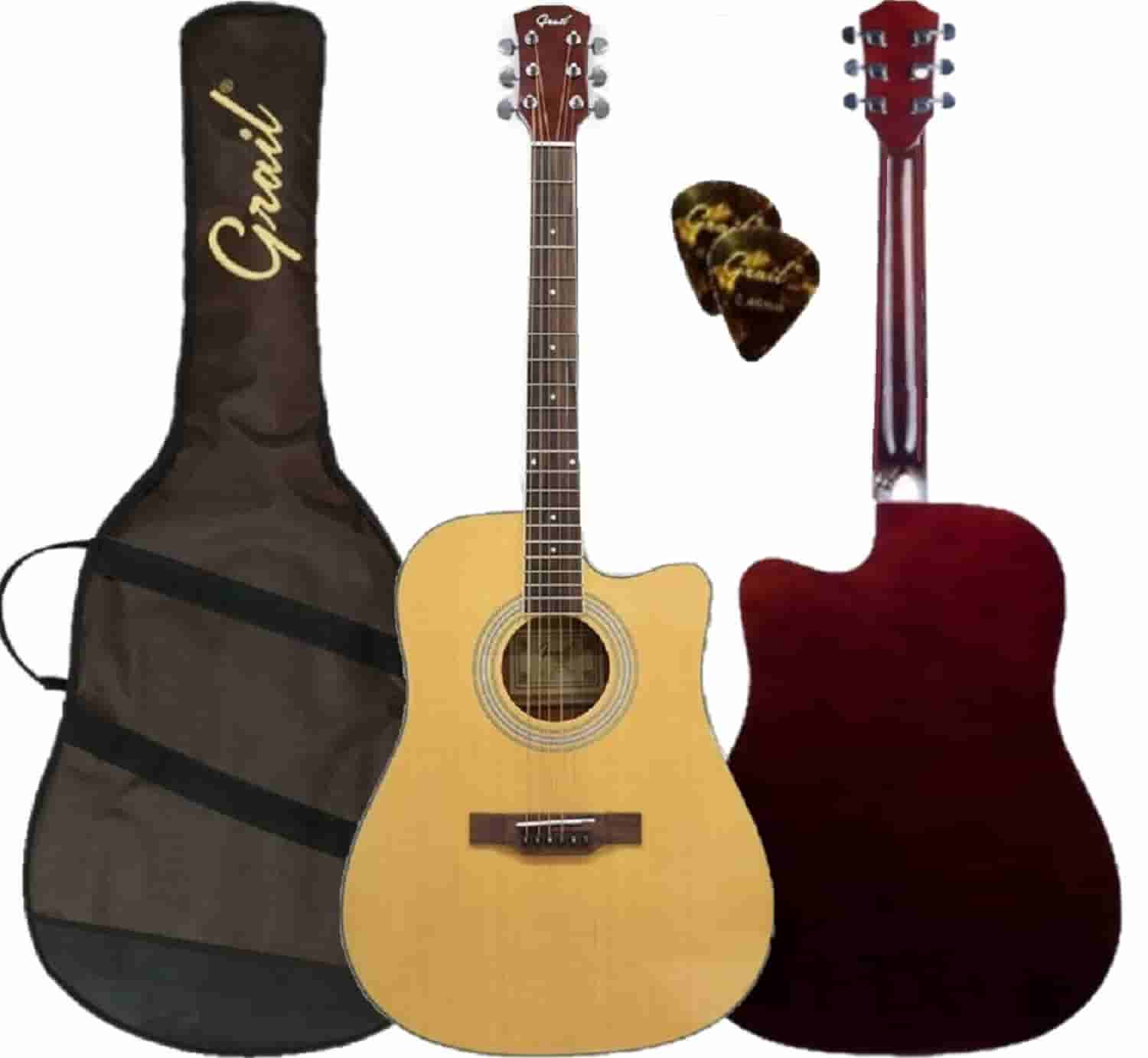 Grail Aspire D120C Acoustic Guitar Cutaway Spruce Top (FREE Water Resistant Padded Gig Bag & 2 Picks)