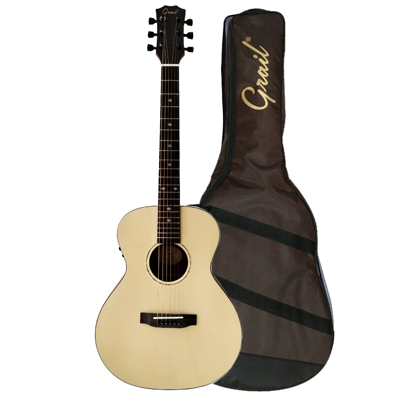 Grail SD210E Mini Solid Spruce Top Semi Acoustic Guitar with Fishman Pickup (FREE Water Resistant Padded Gig Bag & 2 Picks)