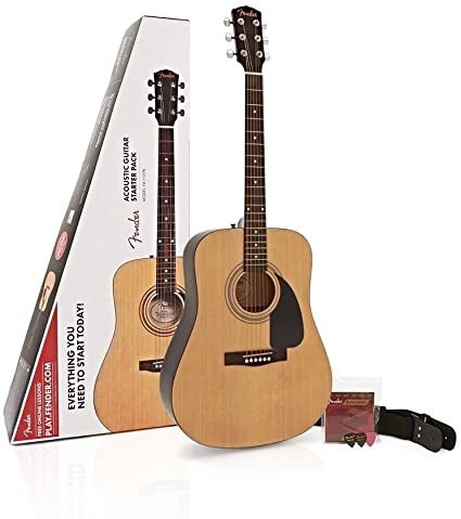 Fender FA 115 Acoustic Guitar Pack, Natural with Strings, Strap, and Picks