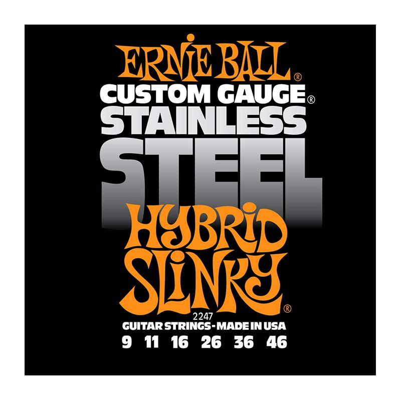 Ernie Ball 2247 Stainless Steel Hybrid Slinky Electric Guitar Strings Set 9 -46