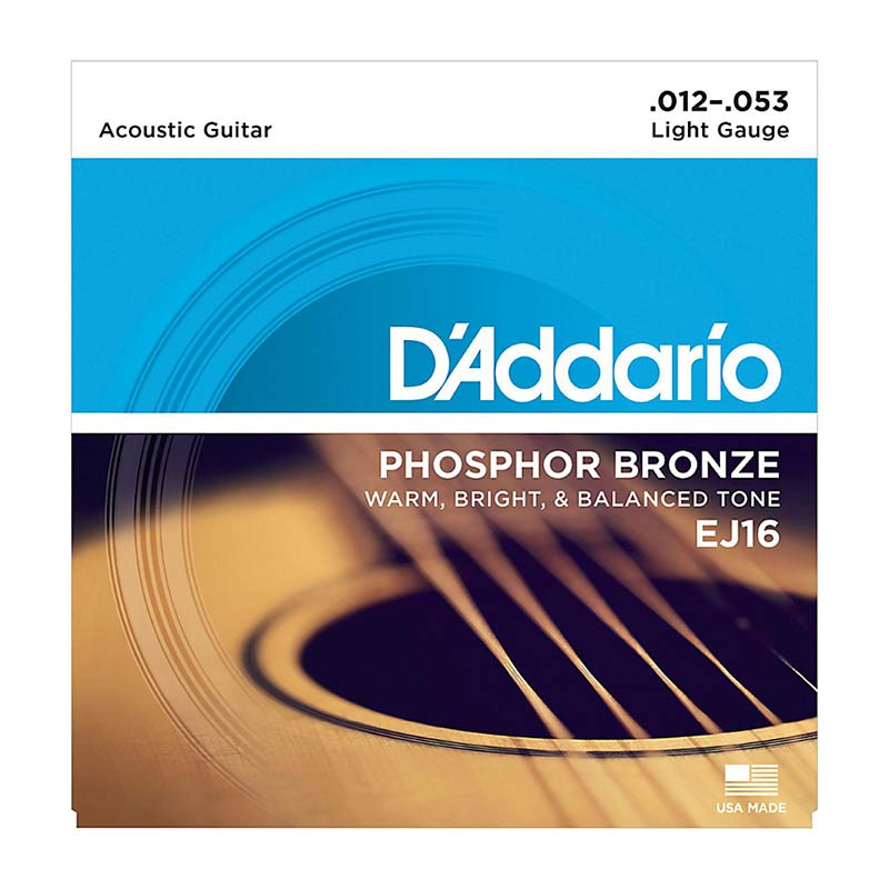 D'Addario Acoustic Guitar Strings Phosphor Bronze 012 -053 Set EJ16