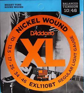 D Addario Electric Guitar Strings XL Nickel Balance Tension .010-.046 Reg Lite Set EXL110BT