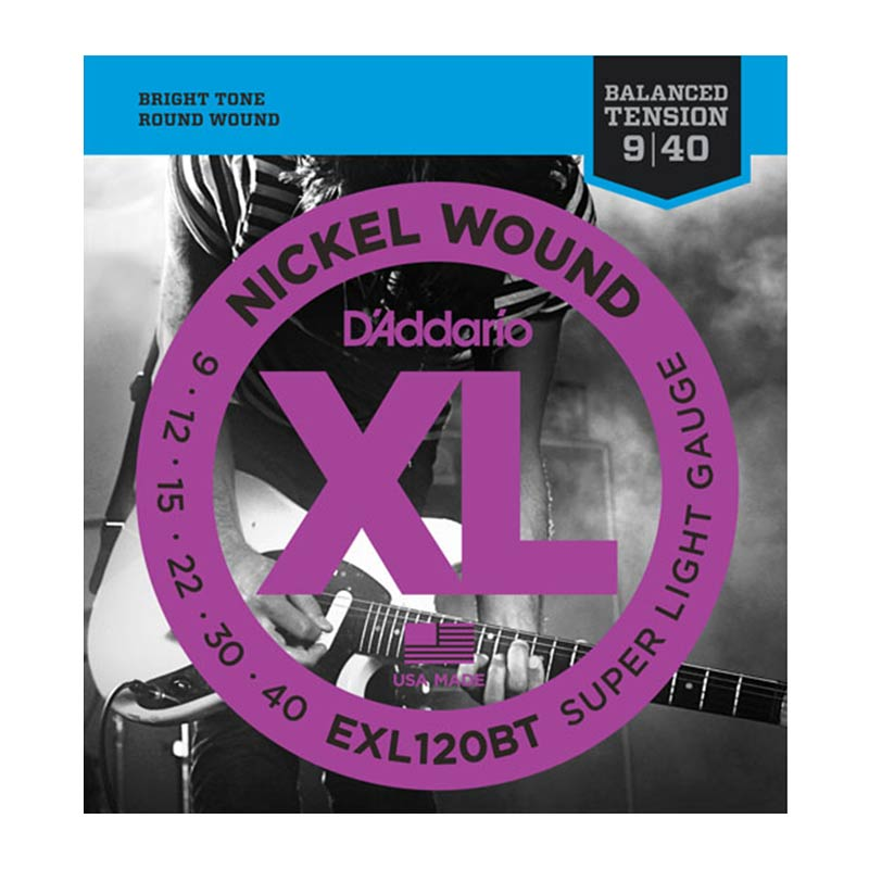 D Addario Electric Guitar Strings XL Nickel Balance Tension .009-.040 Super Lite  Set EXL120BT