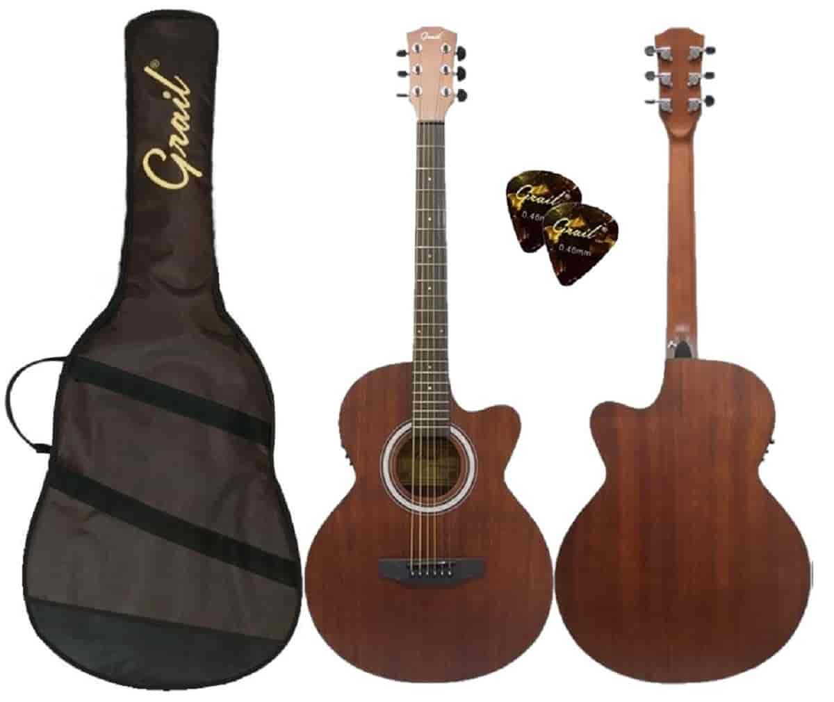 Grail Allure A190CE SAS Semi Acoustic Guitar Cutaway All Sapele (FREE Water Resistant Padded Gig Bag & 2 Picks)