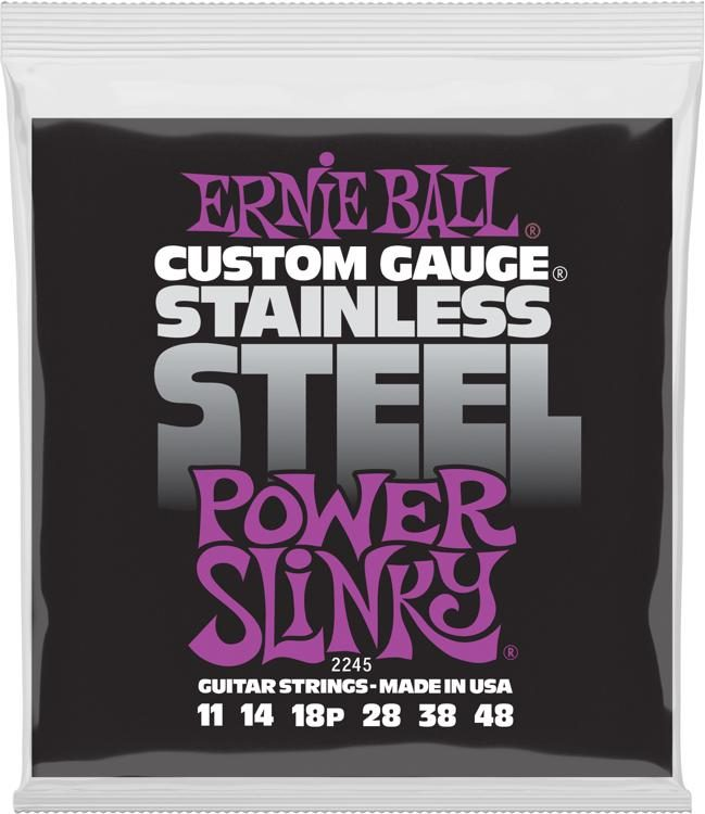 Ernie Ball 2245 Power Slinky Stainless Steel Wound Electric Guitar Strings  11- 48