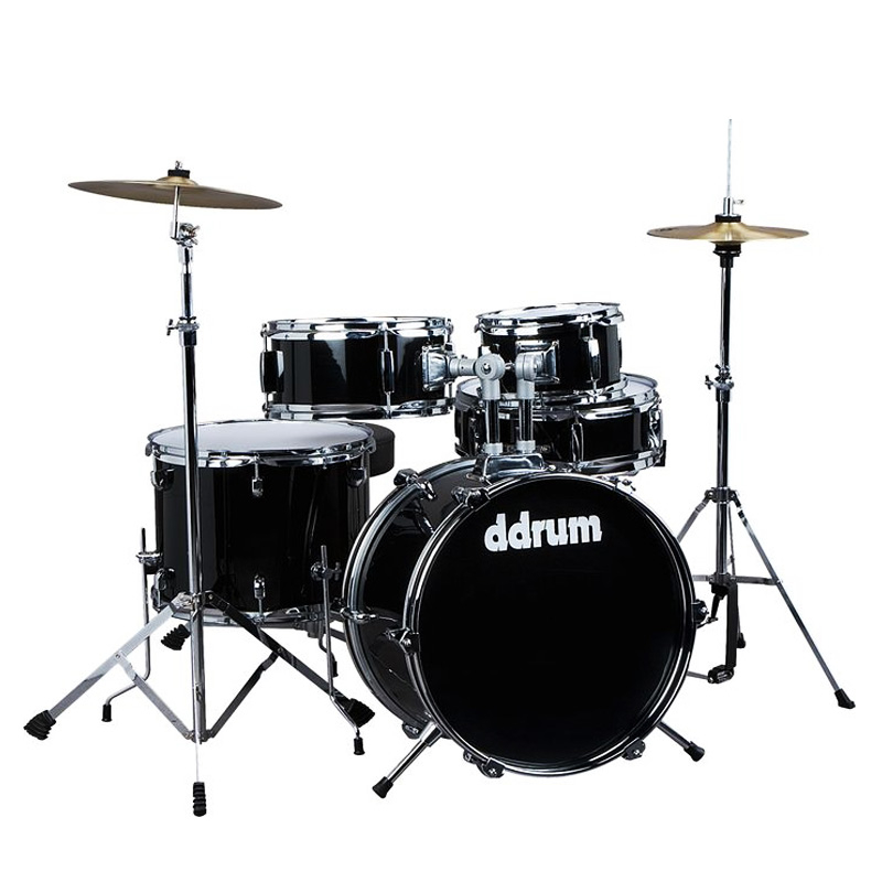 Ddrum D1 MB Junior Drum Set 5 Pcs with Hardware Throne and Cymbals Midnight Black