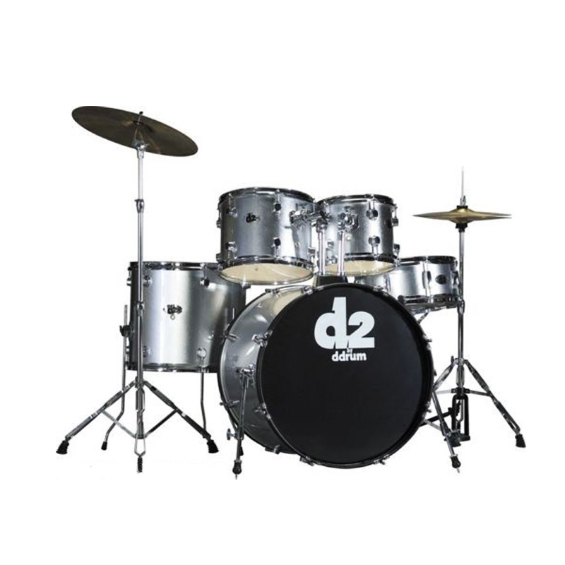 Ddrum D2 BS Drum Set 5 Pcs with Hardware Throne and Cymbals Brushed Silver
