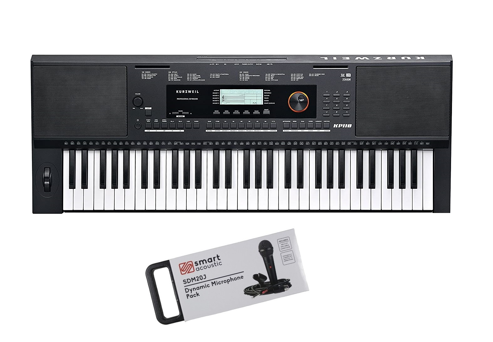 Kurzweil KP110 LB 61 keys Arranger Keyboard Black with free Microphone