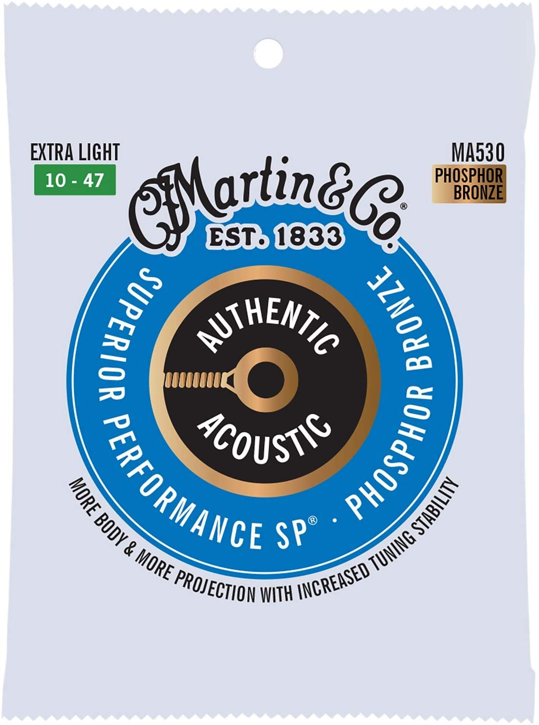 Martin MA530 Authentic Extra Light Phosphor Bronze Acoustic Guitar Strings 10-47