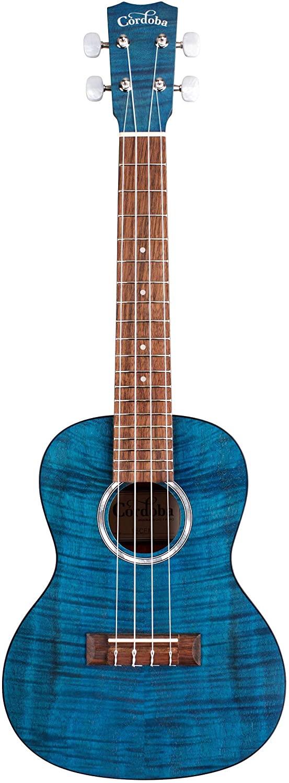 Cordoba 15CFMFlamed Mahogany Concert UkuleleSapphire Blue