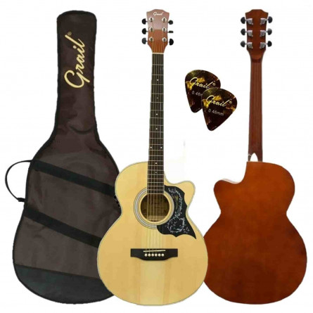 Grail Allure A190CE SP Semi Acoustic Guitar Cutaway Spruce Top (FREE High Quality Padded Bag & 2 Picks)