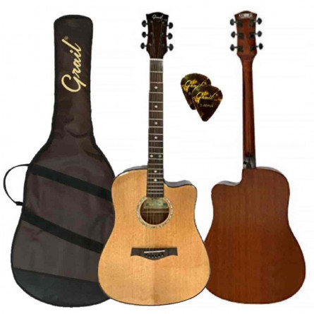 Grail D500C Acoustic Guitar Cutaway Solid Spruce Top - Performance Edition || Natural || (FREE Water Resistant Padded Gig Bag & 2 Picks)