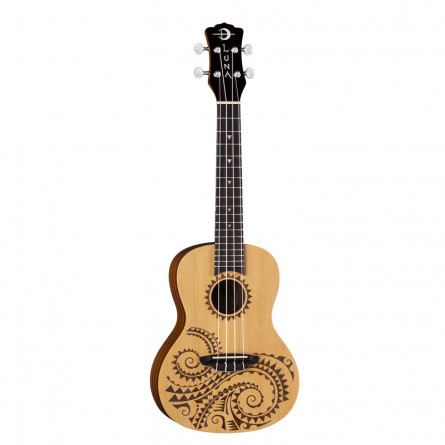 Luna Concert Ukulele Tattoo Spruce with Gigbag