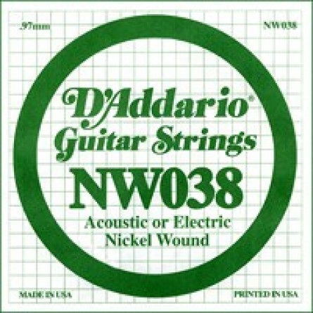 D'Addario Guitar Strings Single Nickel Wound 038 NW038