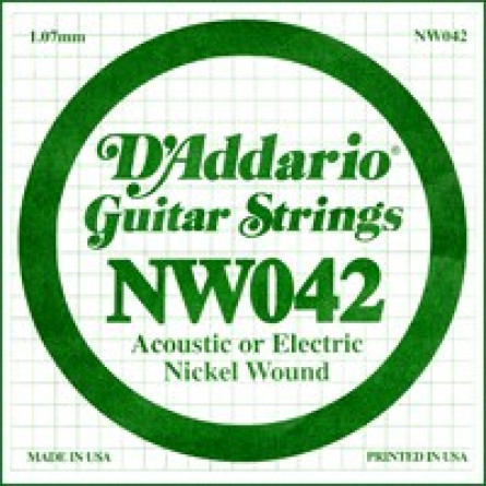 D'Addario Guitar Strings Single Nickel Wound 042 NW042
