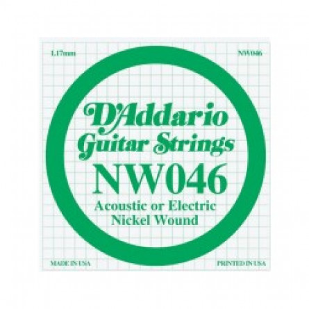 D'Addario Guitar Strings Single Nickel Wound 046 NW046