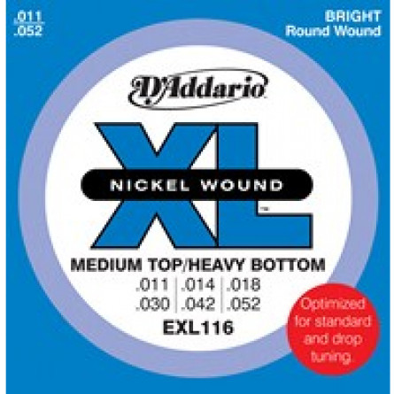 D'Addario Electric Guitar Strings XL  011- 052 Medium/Heavy Set EXL116