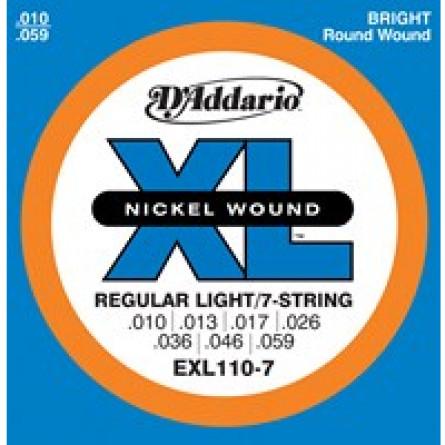 D'Addario Electric Guitar Strings XL Reg Lite 7 String Set EXL110-7