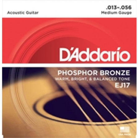 D'Addario Acoustic Guitar Strings Phosphor Bronze 013- 056 Set EJ17