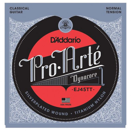 D'Addario Classical Guitar Strings Pro Arte Dynacore Normal Clear Set EJ45TT