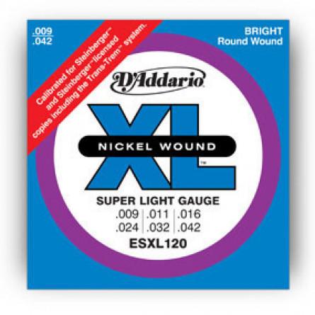 D'Addario Electric Guitar Strings XL Nickel D Ball  009 -042 Set ESXL120