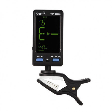 Cherub WST 650 GB Digital Guitar and Bass Tuner Clip On Black