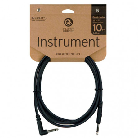Planet Waves Instrument Cables Right Angle 10 Feet PW-CGTRA-10