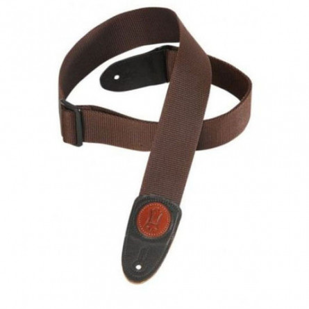 Levys MSS8 -BRN Guitar Strap Polypropylene with Leather Ends 2 Inches Brown
