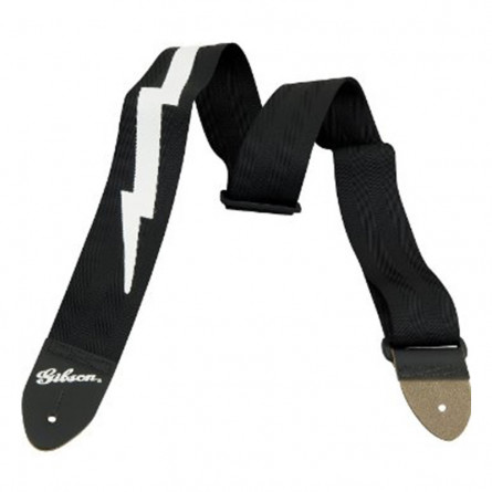 Gibson ASGSBL -10 Guitar Strap 2 Inches Lightning Bolt Safety Strap Jet Black