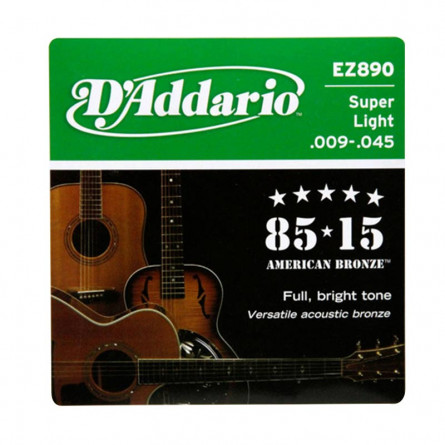 D Addario Acoustic Guitar Strings 85-15 Bronze .009-.045 Set EZ890