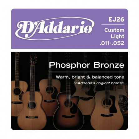 D'Addario Acoustic Guitar Strings Phosphor Bronze .011-.052 Set EJ26