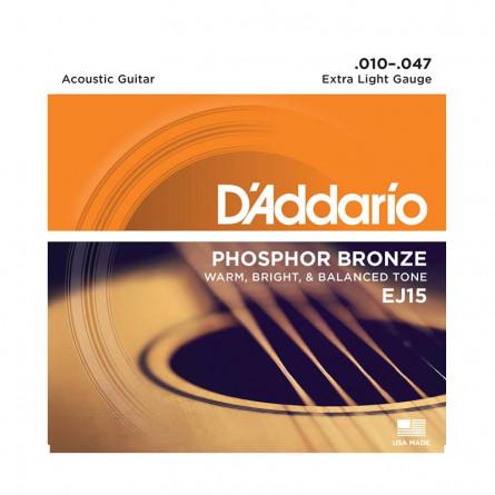 D'Addario Acoustic Guitar Str Phosphor Bronze .010 -.047 Set  EJ15