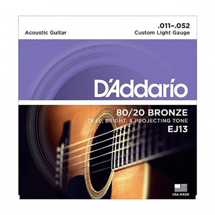 D'Addario, Acoustic Guitar Strings 80 /20 Bronze .011 -.052  Set EJ13