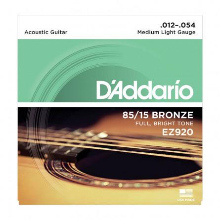 D Addario Acoustic Guitar Strings 85-15 Bronze .012 -.054 Set EZ920