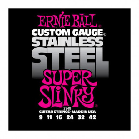 Ernie Ball 2248 Super Slinky Stainless Steel Electric Guitar String Set 9 -42