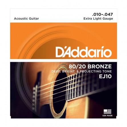 D'Addario Acoustic Guitar Strings 80/20 Bronze 010 -047 Set EJ10
