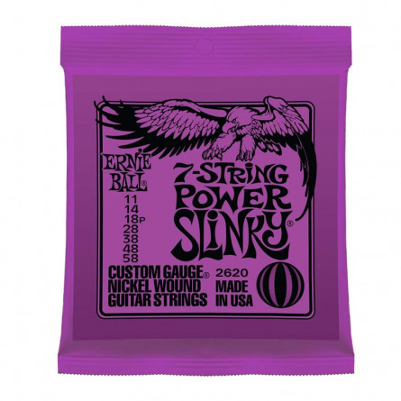 Ernie Ball 2620 Nickel 7 String Power Slinky Electric Guitar Strings