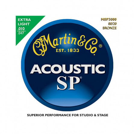 Martin MSP3000 SP Bronze Extra Light Acoustic Guitar Strings