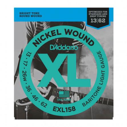 D Addario Electric Guitar String Baritone XL Nickel 013 -062 Set EXL158