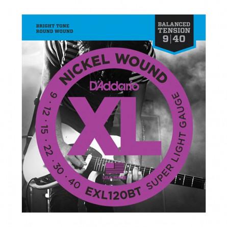 D Addario Electric Guitar Strings XL Nickel Balance Tension .009-.040 Super Lite  Set EXL120BT
