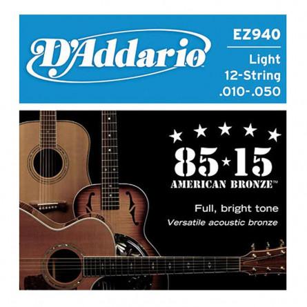 D Addario Acoustic Guitar 12 Strings .010 Set EZ940
