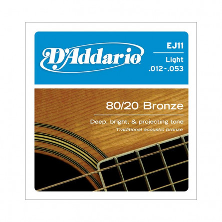 D Addario Acoustic Guitar Strings 80/20 Bronze .012-.053 Set EJ11