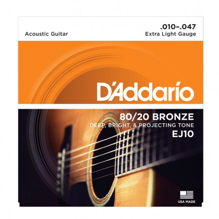 D'Addario EXP10 Coated 80/20 Bronze Acoustic Guitar Extra Light 10-47