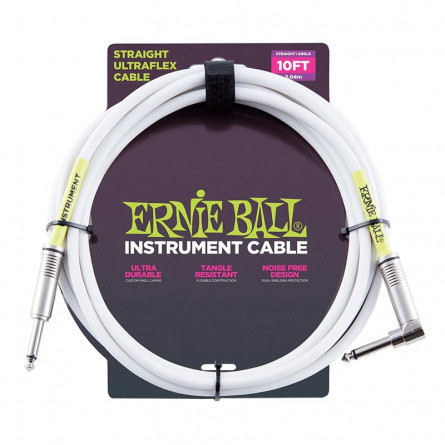 Ernie Ball 6049 Straight Angle Instrument Cable White 10Ft