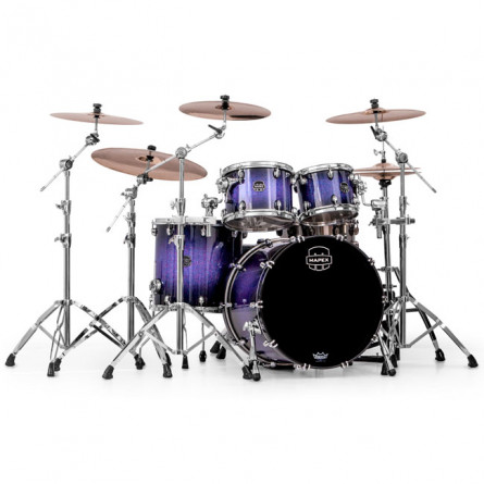 Mapex SNM529XPH Drum Set Saturn IV 4 Pc SHELL PACK with out Snare Red and Blue Hybrid Sparkle