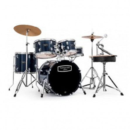 Chancellor Drum Set JBP0803 5 Pcs with Black H/w with Cymbals & Throne Metallic Blue