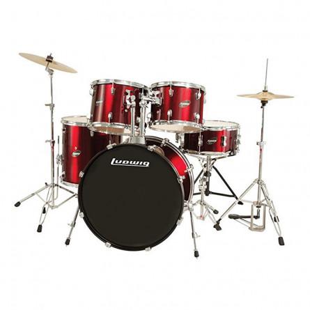 Ludwig Assent Drive LC 1754 DIR 5 Pcs Drum Kit Red