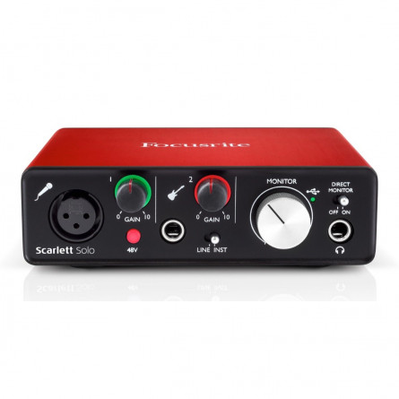 Focusrite Scarlett SOLO (2nd Gen) USB Audio Interface with Software(Protools/Ableton)